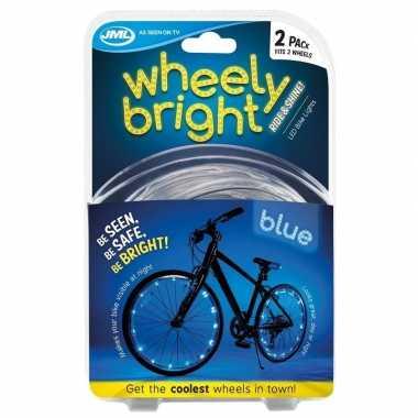 2x blauwe fietsverlichting/spaakverlichting led lichtslangen