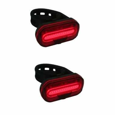 2x fietsachterlichten / batterijachterlichten fietsverlichting cob led met bevestigingsband