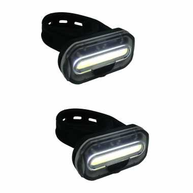 2x fietskoplampen / batterijvoorlichten fietsverlichting cob led met bevestigingsband