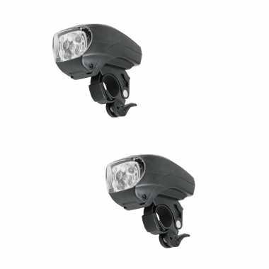 2x fietskoplampen / voorlichten zwart led fietsverlichting