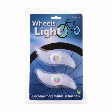 2x spaakverlichting fiets wieldecoratie 12 cm multicolor
