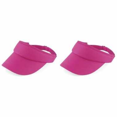 2x stuks fuchsia roze sportieve zonneklep voor volwassenen