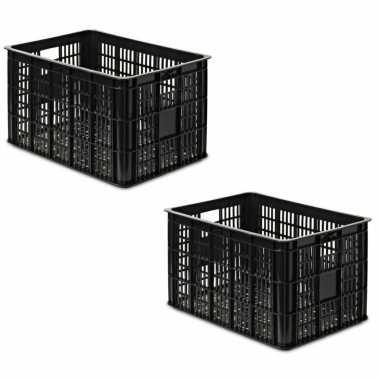 2x stuks zwarte kunststof fietskratten/opbergkratten 48 x 35 x 26 cm
