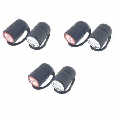 3x fietslampjes fietsverlichting set waterdicht voor / achterlicht 3 leds