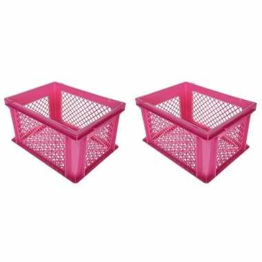 3x stuks roze kunststof fietskratten/opbergkratten 40 x 30 x 22 cm