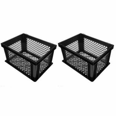 3x stuks zwarte kunststof fietskratten/opbergkratten 40 x 30 x 22 cm