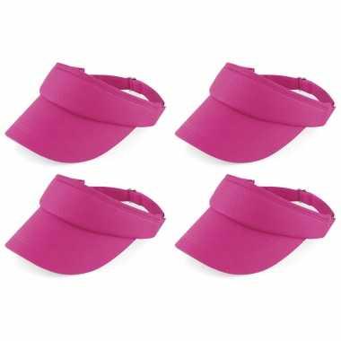 4x stuks fuchsia roze sportieve zonneklep voor volwassenen