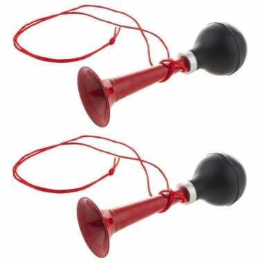 4x stuks rode metalen fiets/sport lucht toeters 19 cm