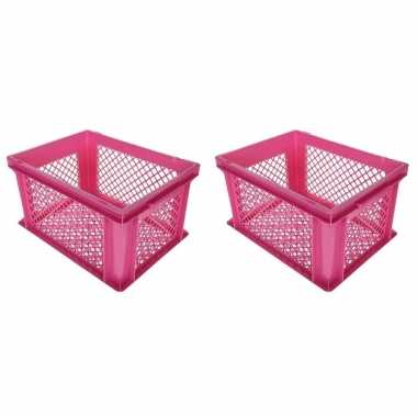 6x stuks roze kunststof fietskratten/opbergkratten 40 x 30 x 22 cm