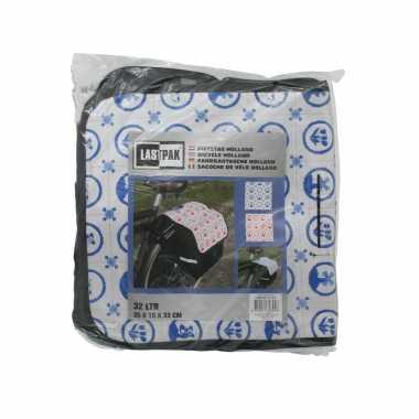 Fietstas dubbel / boodschappentas fiets zwart en wit met blauwe hollandse print 32 liter