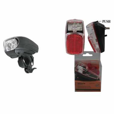Fietsverlichting set fietskoplamp en achterlicht led spatbordmontage met reflector