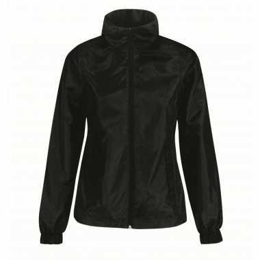 Gevoerde regenjas windjas voor dames zwart