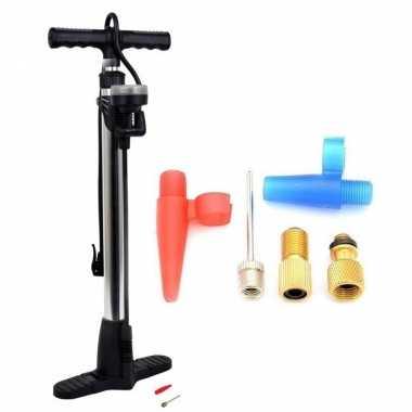 Luxe fietspomp met manometer inclusief 5-delige nippelset
