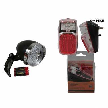 Set fietsverlichting klassieke koplamp en achterlicht led spatbordmontage met reflector