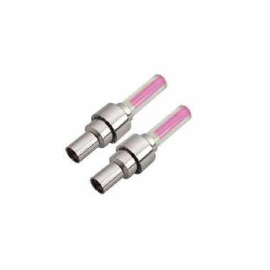 Set fietsverlichting roze voor wiel ventiel incl. batterijen