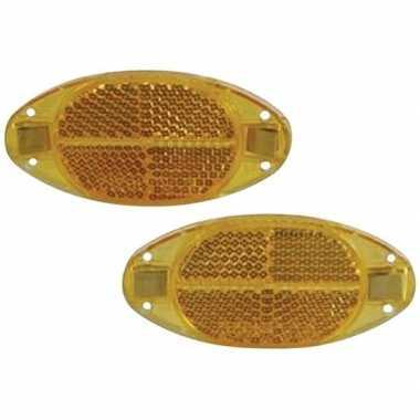 Spaakreflectoren/fietsreflectoren oranje 2 stuks