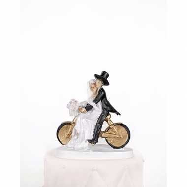 Trouwfiguurtje bruidspaar op een fiets 13 cm