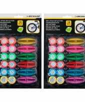 36x stuks dunlop spaakreflectoren fietsreflectoren gekleurd