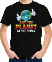 Funny emoticon t-shirt safe the planet zwart voor kids