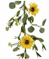 Gele bloemen kunstplanten slingers bloemenslingers 150 cm