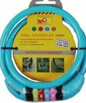 Kabelslot met cijferslot blauw 10 x 650 mm