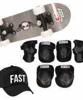 Skateboard set voor kinderen l 9 10 jaar valbescherming fast pet skateboard met print 43 cm grijs