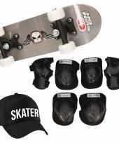 Skateboard set voor kinderen l 9 10 jaar valbescherming skater pet skateboard met print 43 cm grijs
